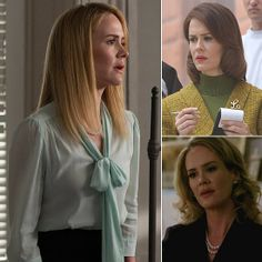 Sarah Paulson - S1: Billie Dean Howard (medium) ~ S2: Lana Winters (reporter with terrible luck) ~ S3: Cordelia Foxx (headmistress of witch school)