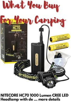 (This is an affiliate pin) NITECORE HC70 1000 Lumen CREE LED Headlamp with detached Battery Case, 2 X 3400mAh batteries with EdisonBright USB Charging Cable Camping Lights, Charging Cable, Usb
