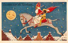 Sinterklaas rijdt met gemak, op zijn paardje over 't dak....
