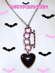 Pink and Black Brass Knuckle Heart Necklace by Pinkspiderwebs on etsy