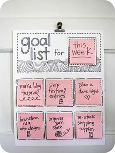 Goal List! super cute:) need to try. Love the post it's!