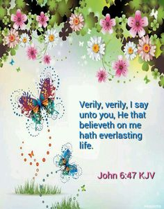 John 6:47 (KJV) Verily, verily, I say unto you, He that believeth on me hath everlasting life.