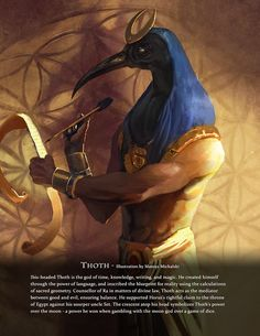 """Immortal Art Book of Myths and Legends. """"Thoth"""" illustration by Mateusz Michalski. Writing and art direction by David Sanhueza. Pre-order now: http://www.game-o-gami.com/store/"""