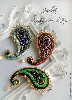 Bead Embroidery Patterns, Bead Embroidery Jewelry, Fabric Jewelry, Beaded Embroidery, Embroidery Designs, Seed Bead Jewelry, Bead Jewellery, Beaded Jewelry, Jewelery