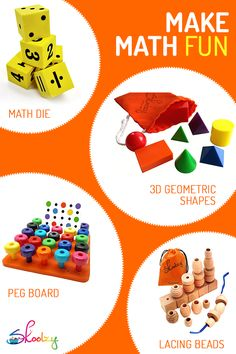 Get your little ones learning math without even knowing it. Toys from Skoolzy are designed to educate through play -- lacing Beads help learn shapes, pegboards introduce counting and math die teach basic arithmetic. Find their new favorite toy at skoolzy.com.