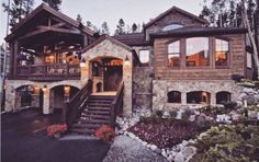 Exclusive Boulder Ridge Lodge -Ski ~in---New. This exclusive mountain home has the appearance of a European Lodge newly constructed in this property is. Mountain Homes, House Goals, Log Homes, My Dream Home, Dream Homes, Style At Home, Exterior Design, Future House, Home Fashion