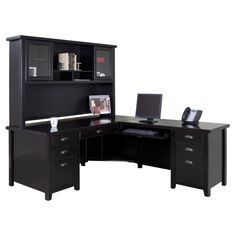 Huntington Oxford Left Handed L-Shaped Computer Desk and Hutch by ...