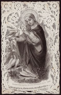 Mary with doves holy card