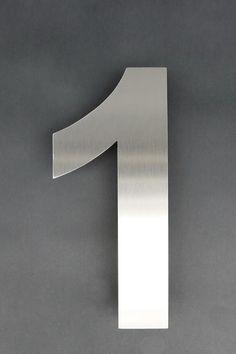 Hausnummer 1 aus Edelstahl