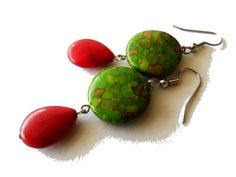 Green Mosaic Turquoise and Red Teardrop by marygracejewellery, $19.00