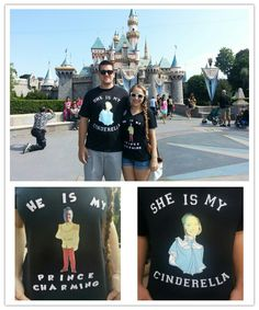Disney couple shirts ♥ I would use a different Disney couple, but I love the idea!