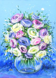 'Mixed rose bouquet on vintage blue' by Ira Mitchell Spring Bouquet, Rose Bouquet, Spring Flowers, Rose In A Glass, Pretty Roses, Red Poppies, Vintage Roses, Original Art, Bloom