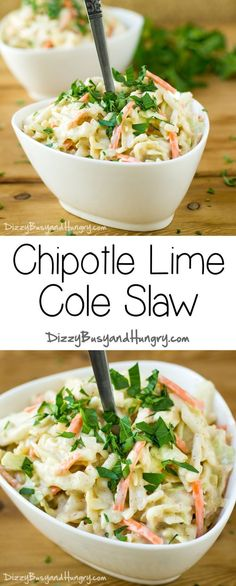 French Delicacies Essentials - Some Uncomplicated Strategies For Newbies Chipotle Lime Cole Slaw - Wowee This Easy Cole Slaw Has So Much Flavor, You Won't Believe Your Taste Buds Slaw Recipes, Lunch Recipes, Mexican Food Recipes, Appetizer Recipes, Vegetarian Recipes, Healthy Recipes, Appetizers, Chipotle Recipes, Cookbook Recipes