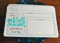 Garden Personalized Recipe Cards by paisleytreepress on Etsy, $30.00