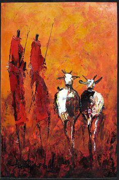 Maasai Herdsmen  by David Ndambuki