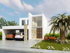 Fachadas Minimalistas: Elegante fachada minimalista con cochera techada para dos autos