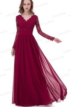 Fashion A Line Long Sleeves Burgundy Lace Prom Dresses Bridesmaid Dress LD1017
