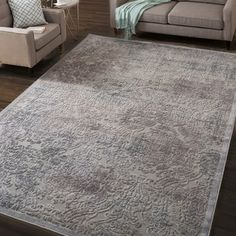 Nourison Graphic Illusions Grey Antique Damask Pattern Rug (5'3 x 7'5) - Free Shipping Today - Overstock.com - 14605398 - Mobile
