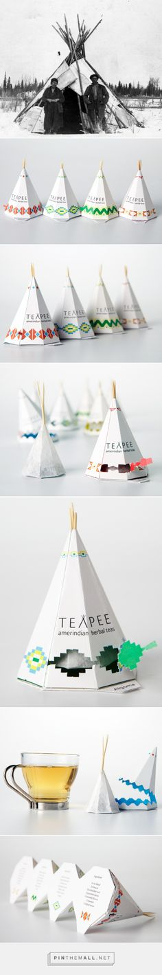 Teapee   Sophie Pépin Beautifully designed, these small sculptures reveal a paper bag and a unique shape that allows an infusion in any style. Patterns, forms and structure are combined in an ode to a civilization almost disappeared and now seeks to find the roots of its founding culture. #packaging #design #tea