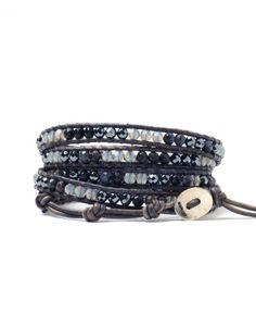 Chan Luu Hematite Mixed Scatter Bead Wrap Bracelet