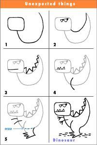 stap voor stap eenvoudige dino tekenen