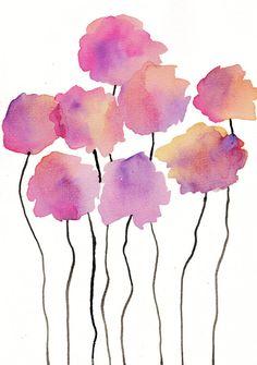Soft Orange & Pink Watercolor Flowers Wall Art by DeliaSopcaArt