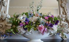 Beautiful mantle vase arrangement by English Garden Flowers in Dorset