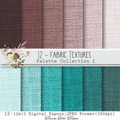 Fabric Textures Colour Palette Collection 2 by Deanna Cartea This is a listing for 12 Fabric Texture Papers Colour Palette Collection 2-Turquoise and Burgundy. They are each 12x12 in JPEG format(300dpi). They can be printed and resized as needed. Use for card making invitations tags scrapbooking decoupage and more please read terms of use.Terms of useYou can use these papers for personal use or in