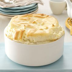 Blue Cheese Souffle Recipe -Lightened up to fewer than 100 calories per serving and packed with protein, this rich and flavorful soufflé is a great side for beef. —Sarah Vasques, Milford, New Hampshire
