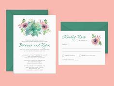 Succulent Wedding Invitation Printable Wedding by AndisInvites