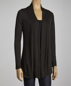 Take a look at this Black Open Cardigan by Clothing Showroom on #zulily today!
