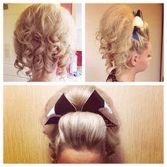 Cheer hair ♡♡ I'm doing competitive cheer next year YEHYEH Cheer Hairstyles, Messy Hairstyles, Cheerleader Hair, Cheerleading, Cheer Hair Poof, Cheer Treats, Cute Cheer Bows, Cheer Makeup, 60s Hair
