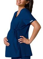 Cherokee Flexibles Maternity Wrap Top | Item# 2892 | This unique maternity top features an adjustable drawstring, empire waist and soft stretchy knit side panels.