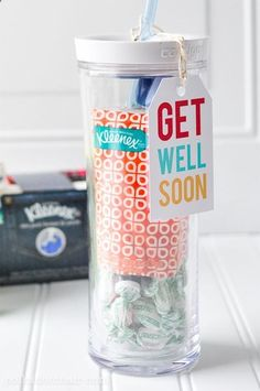 im gunna start doing this for my friends when theyre sick.. kleenex, halls, vicks inhaler, and a container of soup !