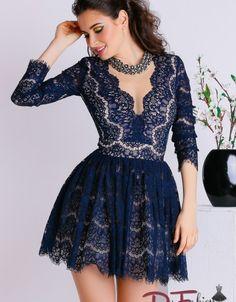 Dark Blue, Dresses With Sleeves, Formal Dresses, Long Sleeve, Beauty, Fashion, Dresses For Formal, Moda, Deep Blue