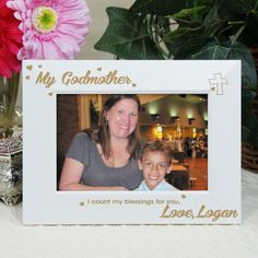 Personalized Engraved My Godmother White Picture Frame - Gifts Happen Here