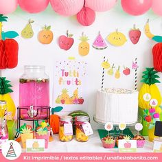 Wendy's Summer / Tutti Frutti - Summer party kit at Catch My Party Fruit Birthday, 2nd Birthday Parties, Birthday Party Decorations, Birthday Celebration, Theme Parties, Tutti Frutti, Party Kit, Party Ideas, Tutti Fruity Party