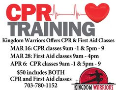 Ever wanted to learn CPR or First Aid? Now you can get certified right here! Call 703-780-1152 to register.