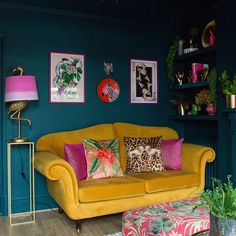 Before & After: Amelia's Victorian Terrace Colourful & Maximalist Living Room Teal Living Rooms, Colourful Living Room, Living Room Decor, Living Spaces, Victorian Terrace, Velvet Cushions, Velvet Sofa, Living Room Inspiration, Amelie