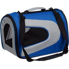 Airline Approved Folding Zippered Sporty Mesh Pet Carrier - Blue & Grey