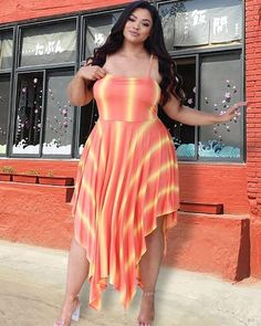 Orange and Yellow Stripe Irregular Dress Plus Size Spring Dresses, Casual Dresses Plus Size, Spring Dresses Casual, Plus Size Casual, Dress Casual, Dress Outfits, Casual Outfits, Cool Silhouettes, Prom Looks