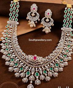 Diamond Necklace Set, Diamond Choker, Emerald Necklace, Diamond Bangle, Diamond Jewellery, Emerald Diamond, Bridal Jewelry Sets, Bridal Necklace, Gold Temple Jewellery
