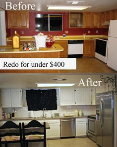 """""""Classy Clutter: My Kitchen Redo under $400!"""" also, she gives advice about a cool counter top paint, might want to remember this."""