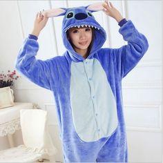 Hot 2016 One Flannel Anime Pijama Unisex Adult Pajamas cartoon stitch Cosplay Costume Animal Onesie Sleepwear Suit Hot