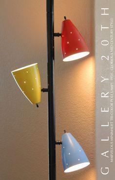 ATOMIC MID CENTURY TRI-COLOR TENSION POLE LAMP! Triennale Eames Vtg Modern 1950s