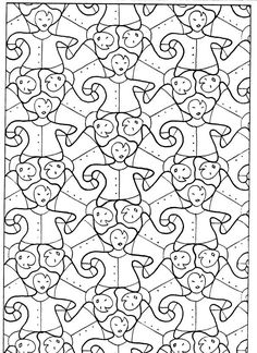 Best Coloring: Mirror transformations coloring pages - Amazing Coloring sheets - Escher Art, Mc Escher, Pokemon Coloring Pages, Colouring Pages, Coloring Sheets, Sailor Moon Locket, Cc Drawing, Tessellation Patterns, Geometric Coloring Pages