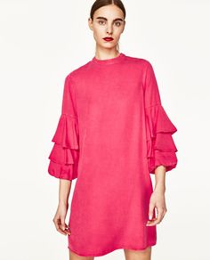 52f10fe00af Dress with Mandarin-style collar and below-the-elbow frilled sleeves. Back  zip fastening. JOIN LIFE Care for fiber  TENCEL®Lyocell.