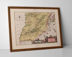 Old Map of South Ayrshire, originally created by Willem Janszoon Blaeu, now available as a 'museum quality' wall decor print.  #Alloway #Ayr #ayrshire #Coylton #Dundonald #Dunure #homedecor #travelposter #interiordesign #Girvan #hahnemuhle #MapSouthAyrshire #Maybole #oldmap #Prestwick #Tarbolton #Troon #ayr