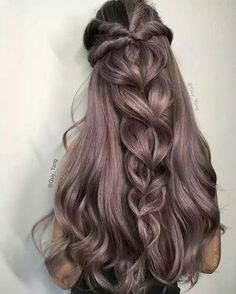 Pretty violet hair with pull throught braid