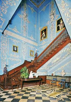 Powderham Castle stair case Exeter England, Dartmoor National Park, Checkered Floors, Somewhere In Time, Georgian Homes, Inside Outside, Grand Homes, Grand Staircase, Medieval Castle